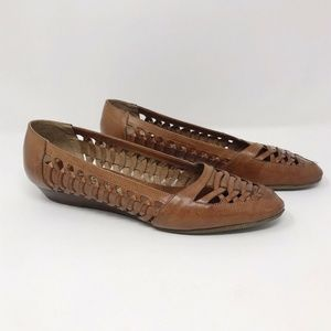 Vtg Enzo Angiolini Weaved Leather Loafers Brown